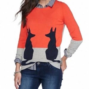 Crown & Ivy Fox Sweater Color block  NWOT Small 🦊
